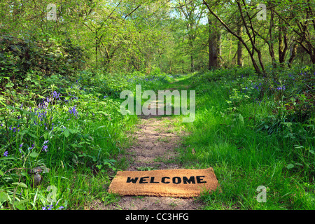 Concept photo of a Welcome doormat on a woodland footpath during springtime in horizontal format. - Stock Photo