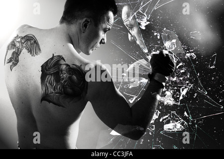 Boxer braking glass - Stock Photo