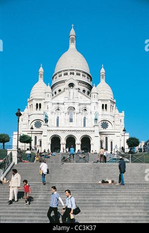 France - Ile-De-France - Paris. Montmarte, Basilica Of The Sacred Heart (Basilique Du Sacre-Cœur) - Stock Photo
