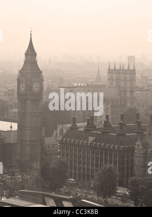 Aerial view of Big Ben in sepia colors - Stock Photo