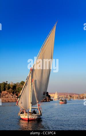Feluccas on the Nile, Aswan, Egypt - Stock Photo