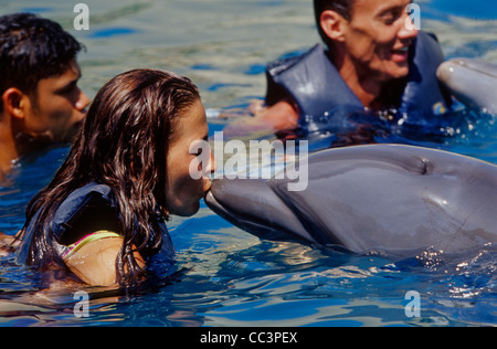 Swimming with Dolphins in the Fun Park CICI - Stock Photo