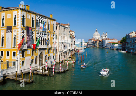 Italy, Veneto, Venice, Grand Canal, Santa Maria della Salute from Accademia Bridge - Stock Photo