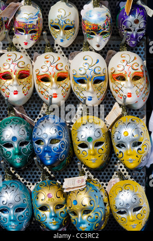 Italy, Veneto, Venice, Venetian masks for sale - Stock Photo