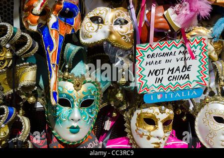 Italy, Veneto, Venice, Venetian masks for sale - Stock Photo