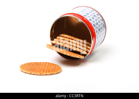 Dutch waffles (stroopwafels) on a stack  on a white background - Stock Photo