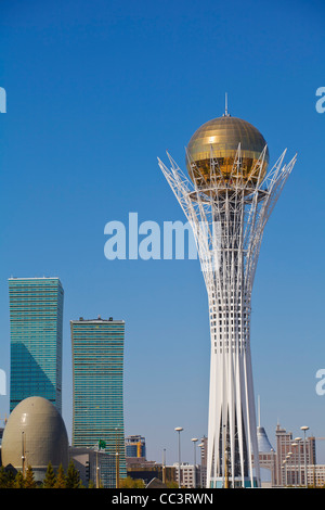 Kazakhstan, Astana, Nurzhol Bulvar - central boulevard, Bayterek Tower and to the left the Northern Lights apartment - Stock Photo