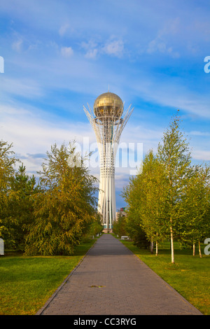 Kazakhstan, Astana, Nurzhol Bulvar - central boulevard, Bayterek Tower - Stock Photo