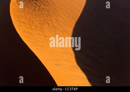 Aerial view over sand dunes, Namib Desert, Namibia - Stock Photo