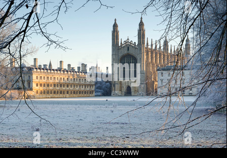 UK, England, Cambridgeshire, Cambridge, The Backs, King's College Chapel in winter - Stock Photo