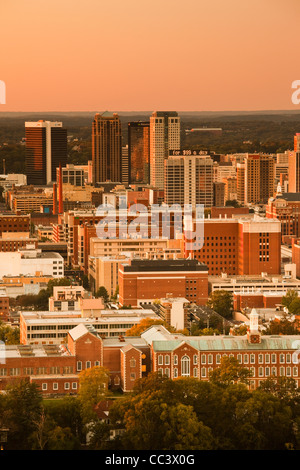USA, Alabama, Birmingham, high angle view from Vulcan Park, dusk - Stock Photo