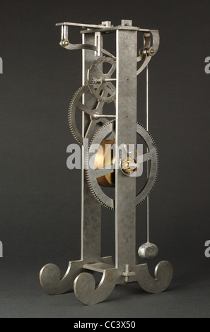 Watch. Replica Of A Contemporary Grandfather Clock Built And Designed By Galileo Gali Her. Cm.34 Height, Depth 8Cm, - Stock Photo