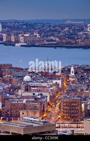 USA, Massachusetts, Boston, high angle view of The North End, LIttle Italy, by Hanover Street, dusk - Stock Photo