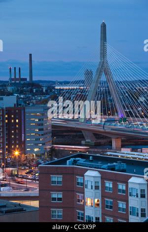 USA, Massachusetts, Boston, Leonard Zakim Bridge, Rt. 93, dusk - Stock Photo