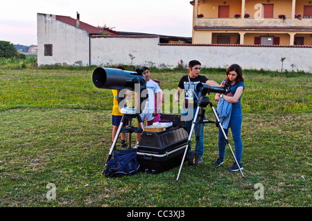 Goup of Hobby Astronomist waiting for a Solar Eclipse in Liternum, Giugliano, Naples, Italy - Stock Photo