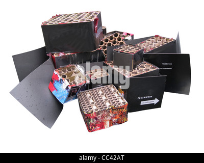 Empty boxes of fireworks - Stock Photo