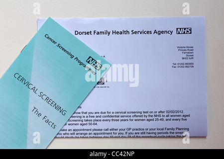 Cervical screening leaflet and letter from Dorset Family Health Services Agency advising that a cervical screening - Stock Photo