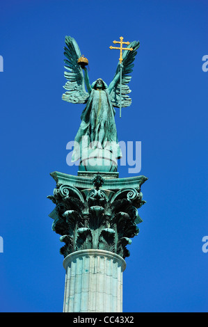 Millennium Memorial, Heroes' Square, Budapest, Hungary - Stock Photo