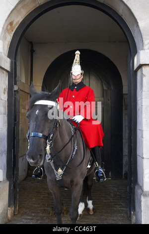 The Household Cavalry Life Guards on guard duty in Whitehall London England UK United kingdom - Stock Photo
