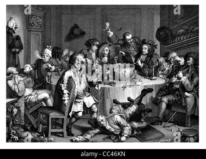 A Midnight Modern Conversation  The Works of Hogarth published London 1833 - Stock Photo