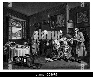 Marriage a la Mode Death of the Countess From the original by Hogarth from The Works of Hogarth published 1833 - Stock Photo