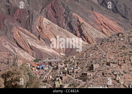 Cemetery in front of the Painter's Palette, Quebrada de Humahuaca, Argentina - Stock Photo