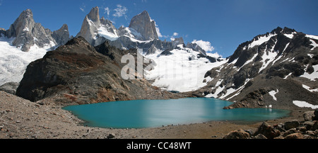 View over Mount Fitz Roy and the Laguna de los Tres in the Andes, Patagonia, Argentina - Stock Photo