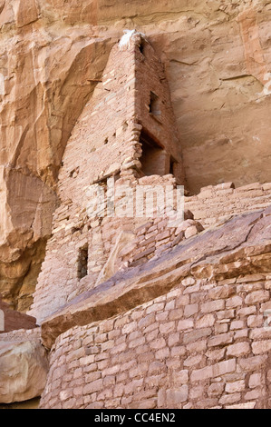 Close-up of building at Long House cliff dwelling in alcove at Wetherill Mesa in Mesa Verde National Park, Colorado, - Stock Photo