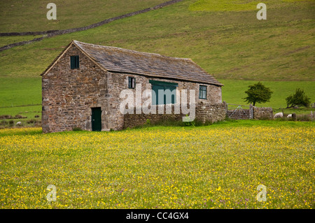 Farm building or barn near Upper Booth, beneath Kinder Scout in the Peak District National Park - Stock Photo