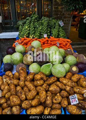 Selection of fresh vegetables on sale at Borough Market Southwark London UK - Stock Photo