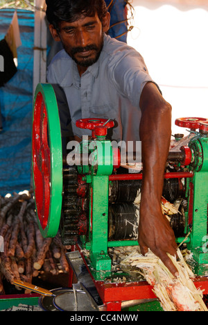 Sugar Cane Juice extraction process from grinding motor machines ( sugarcane juice extractor machine ) - Stock Photo