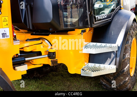 Yellow Hydraulic Excavator Articulation Mechanism Side View - Stock Photo