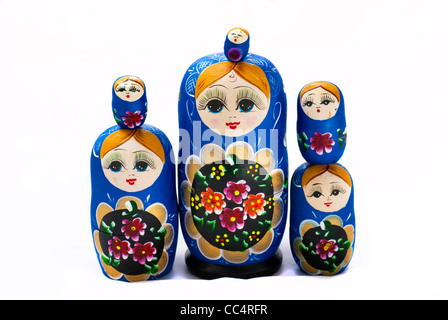These little Russian Dolls are stacked and ready to play with - Stock Photo