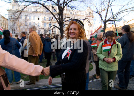 Hungarian nationalists demonstrate at the occasion of the 15 March commemoration of the 1848 revolution in Budapest - Stock Photo
