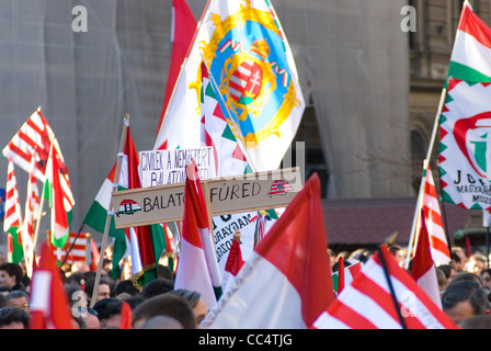 Hungarian nationalists demonstrate at the occasion of the 15 March commemoration of the 1848 revolution. - Stock Photo