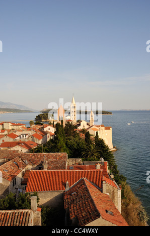 Old Town of Rab with Churches and Bell Towers as Seen from Campanile of Church of St John the Evangelist, Croatia - Stock Photo