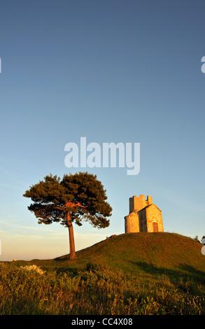 Tree and Romanesque St. Nicolas (Nicola) Church Located on Earthen Hill in Fields of Prahulje near Nin in Dalmatia, - Stock Photo