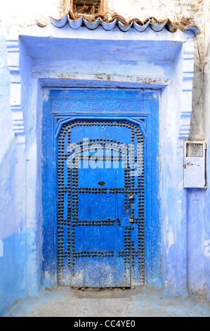 Street scene in Chefchaouen, also known as Chaouen, a small village with walls painted in white and blue in northern - Stock Photo