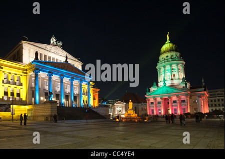 Concert hall and French Dome lit by colorful lights during FESTIVAL OF LIGHTS 2010 in Berlin, Germany - Stock Photo