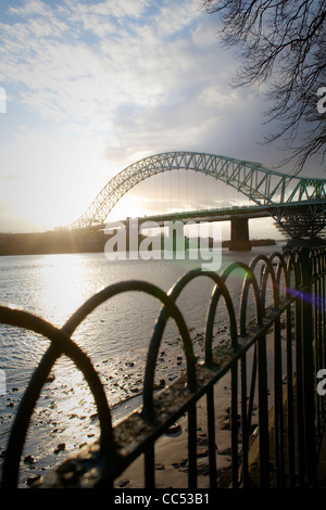 Runcorn Bridge between Runcorn and Widnes, Cheshire, England,UK - Stock Photo