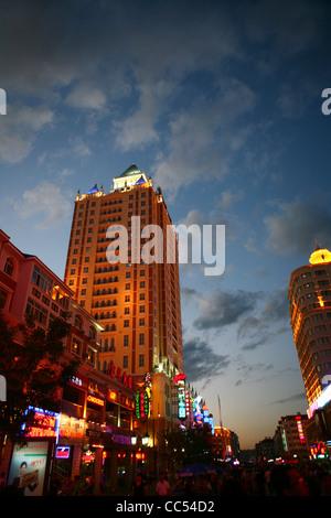 Night scene of Manzhouli, Hulunbuir, Inner Mongolia Autonomous Region, China - Stock Photo