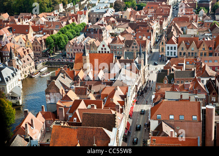Aerial view over the rooftops of Bruges (Brugge) in Flanders Belgium taken from the Belfry. Rosary Quay (Rozenhoedkaai) - Stock Photo