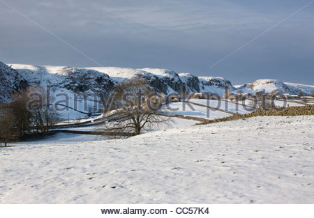 Holwick, looking towards Holwick Scars, near Middleton-in-Teesdale, Co Durham in winter - Stock Photo
