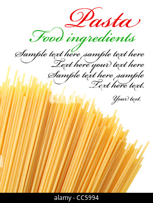 Italian pasta on a white background. The place for text on the right coner. - Stock Photo