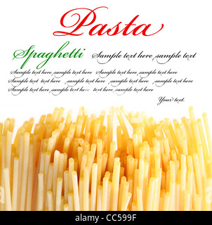 Italian pasta on the white background. The place for your text on the top. - Stock Photo