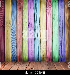Multicolor wall of wooden planks. Vintage style. - Stock Photo