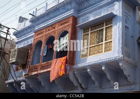 Colorful facades in Pushkar - Rajasthan, India - Stock Photo