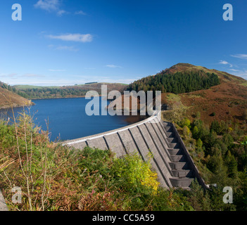 Llyn Clywedog Dam and Reservoir in early autumn Cambrian Mountains Near Llanidloes Powys Mid Wales UK - Stock Photo