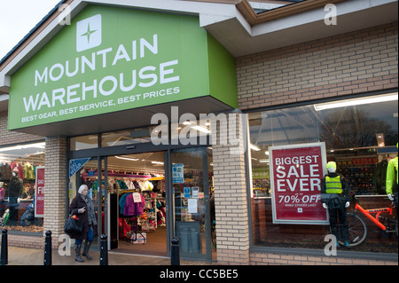 Mountain Warehouse outdoor clothing and camping goods store shop, UK - Stock Photo