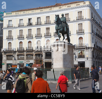 Madrid, Spain. Puerta del Sol. Equestrian statue of King Carlos III. - Stock Photo